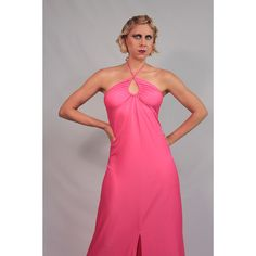 This dress is to die for!  Bright pink jersey halter gown. Tickle me pink maxi dress. 70s does 30's.. $48.00, via Etsy.