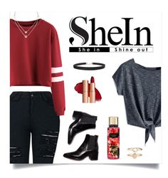 """SheIn Burgundy Varsity Crop T-shirt"" by carodubini ❤ liked on Polyvore featuring Humble Chic, Michael Kors, Accessorize and modern"