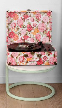 floral vinyl record player