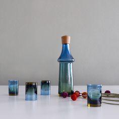 Pukeberg Decanter And Glasses by Pukebergs Glasbruk
