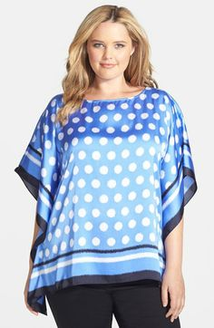 MICHAEL Michael Kors 'Ikat Spot' Print Flutter Top (Plus Size) available at #Nordstrom in navy/yellow