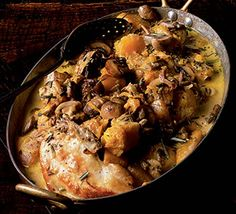 Creamy chicken, mushroom, and pumpkin stew. Prepare this delicious chicken and pumpkin dish the day before and just pop in the oven as your guests arrive. Pumpkin Stew, Chicken Pumpkin, Pumpkin Dishes, Pumpkin Recipes, Pumpkin Moon, Canned Pumpkin, Bbc Good Food Recipes, Cooking Recipes, Healthy Recipes