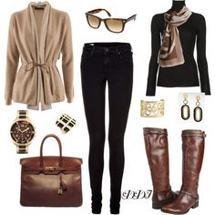"""Black, Tan and Brown"" by dawndayiannelli on Polyvore"