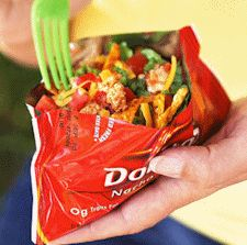 """Camping: Tacos in a Bag. I don't care if this is a """"for kids"""" recipe, I think it'd be yummy. :P Just pop the taco """"meat"""" in foil to heat it up beforehand and go to it!"""
