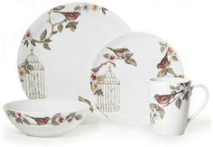 casual dinner ware with birds | Birdcage Gourmet Basics by Mikasa