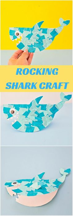 Cute Paper Rocking Shark Craft. Fun art project for Shark Week or Summer Craft for Kids. Free Printable Template included.