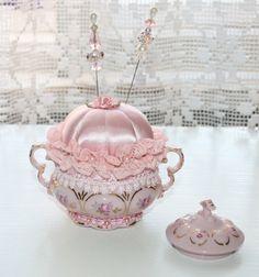 Vintage victorian pincushion in Bohemia china cup w/ 14karat gold ornamentation | eBay