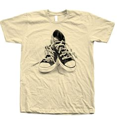 8218e87a37bf Items similar to Unisex Tshirt Sneakers Screen Print on American Apparel  Crew Neck Available  S