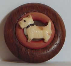 VINTAGE CELLULOID WOOD ROUND SCOTTIE WESTIE TERRIER BROOCH