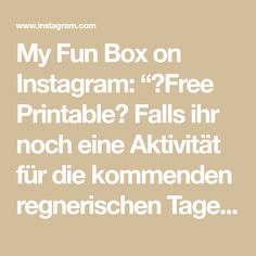"""My Fun Box on Instagram: """"🖨Free Printable🖨 Falls ihr noch eine Aktivität für die kommenden regnerischen Tage braucht☔️ Hier ein Spiel für die ganze Familie🤗 Einfach…"""""""