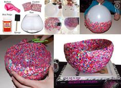DIY Confetti Bowl decoration (but you could do it in any combination of colors to personalize the bowls to the color scheme of any event!)