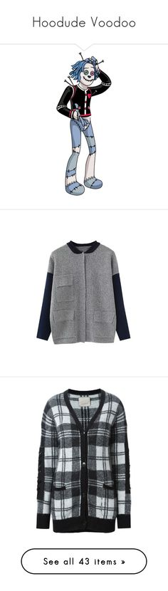 """Hoodude Voodoo"" by darklinghatter ❤ liked on Polyvore featuring tops, cardigans, grey, gray top, long sleeve cardigan, gray cardigan, long sleeve tops, grey top, black and black beaded cardigan"