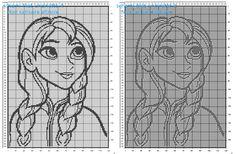 Schema gratis copertina bimba filet uncinetto con la Principessa Disney Frozen Anna 170 quadretti