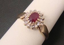 SOLID 14K YELLOW GOLD .60 CT GENUINE RUBY & DIAMOND ACCENT RING OVAL SIZE 7.25