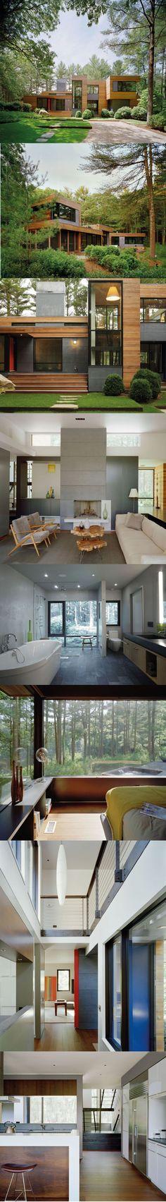 Casa de banho com janelas grande, omissão de sanita Exterior rodeado por verde