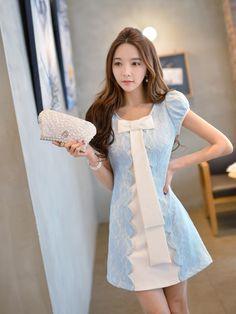 Morpheus Boutique  - Blue Lace Floral Hem Designer Dress, $139.99…