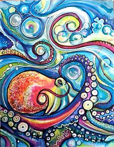Swirling Octopus by #Colleen Wilcox | surf art