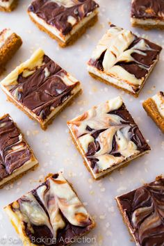 Nutella Swirl Cheesecake Bars - only 8 ingredients! sallysbakingaddiction.com @Sally McWilliam [Sally's Baking Addiction]