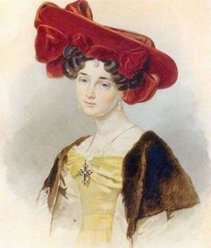 Portrait of Baroness Alexandra Nikolaevna de Malvirad ~ Pyotr Fyodorovich Sokolov ~ (Russian, Turbans, Historical Fiction Authors, F Pictures, Pastel Watercolor, European Dress, Russian Art, Russian Style, Russian Fashion, Watercolor Portraits