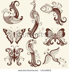 Vector abstract floral elements in indian mehndi style Abstract henna floral vector illustration Design element