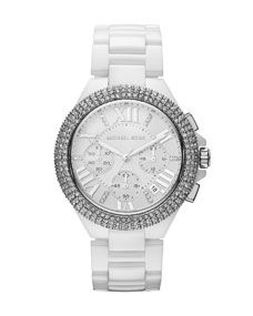 Shop Mid-Size White Stainless Steel Camille Chronograph Glitz Watch from Michael Kors at Neiman Marcus Last Call, where you'll save as much as on designer fashions. Outlet Michael Kors, Michael Kors Watch, Mk Handbags, Handbags Michael Kors, Cheap Handbags, Cheap Bags, Fashion Handbags, Carteras Michael Kors, Devon
