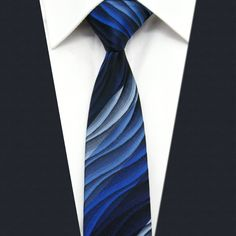 UZ23 Blue Gradual Change Ripple Silk Fashion Classic Brand New Dress Men Skinny Necktie Slim Necktie