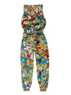 Kombinezon damski bez ramiączek, jednoczęściowy, luźny, ze ściągaczami w kwiaty - XKB0055 odzież damska - txm24.pl niebieski