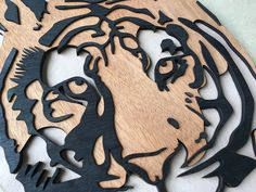 Laser Cut and stained wooden Tiger Image for Tiger Brands Tiger Images, Laser Engraving, Laser Cutting, Ale, Negative Space, Studio, Wood, Animal, Orange