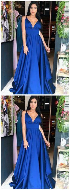 Royal Blue Satin Spaghetti Strap V-Ausschnitt A-Linie Prom Dresses - Ultimative Kollektionen von Kleidern Classy Prom Dresses, Royal Blue Prom Dresses, Cheap Prom Dresses, A Line Prom Dresses, Ball Gown Dresses, Sexy Dresses, Evening Dresses, Blue Dresses, New Party Dress
