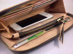 Leather Long Wallet Zipper Veg Tan Leather by HayaShiLeatherCraft-SR