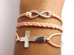 Infinity Cross Bracelet for Men & Women  Faux by DaisyBellBeads