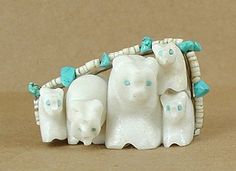 Native American Zuni Bear family fetish carved by Tim Lementino of alabaster Native American Wisdom, Native American Artists, American Spirit, Native American Jewelry, Native American Indians, Native Americans, Native Indian, Native Art, Bear Totem