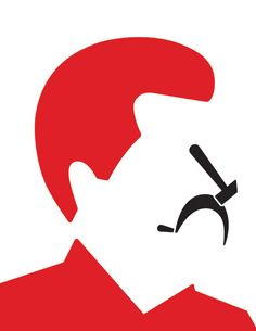 Joseph Stalin    The hammer and sickle get rearranged into Joseph Stalin's nose and mouth. That these two icons can be taken out of context, but remain in context in that they possess such associative power that the viewer will know who this feature face is, bolsters the effectiveness of Bar's approach to illustration.
