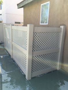 Love this vinyl fence enclosure made by Fence. Perfect for around pool equipment or air units.