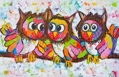 Owl Art By Vrolijk Schilderij.nl