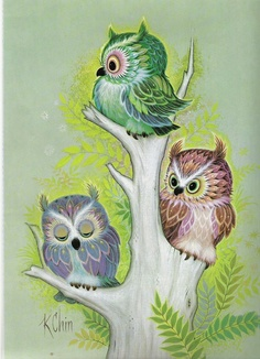 ...These 3 little newborn owlets are all clorful bright colors and the litle owlets are all sitting on a tree.