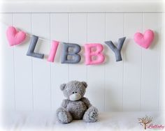 Personalized felt name banner wall art nursery by LullabyMobiles