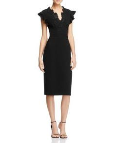 Rebecca Taylor Crepe and Lace Dress $297.00 Rebecca Taylor welcomes a fresh approach to the LBD, outfitting this darling crepe dress with floral lace appliqués, flouncy ruffle sleeves and an elegant open back.
