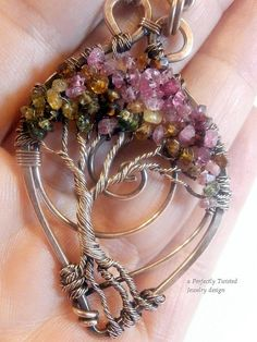 Tourmaline Gemstone Wire Wrapped Tree of Life by PerfectlyTwisted