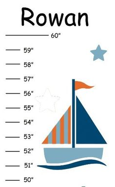"Pesonalized Blue and Orange Sailboats Growth Chart by Growth Charts Galore. $26.00. Track your little one's growth with color and style. Our fun and adorable canvas growth charts makes a darling accent for a bedroom or playroom. Choose from a variety of designs. We personalize all charts with any name, up to 10 characters. High quality canvas measures 42""L x 8""W and comes ready to display with a coordinating ribbon to hang. * Personalized * Includes grosgrain hanging ribbo..."