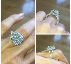 Forever One Moissanite Platinum Eternity Engagement Ring 5.02ct Cushion Cut Moissanite 2.35ct Genuine Diamonds Pristine Custom Rings