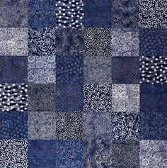 """We  challenged new and experienced quilters to make the easiest quilt ever using  10"""" squares. See the variety of fabrics and find the optional size chart at the  end of the slideshow."""