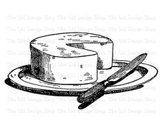 Cheese and Knife on Platter Clip Art Vintage by TheOldDesignShop
