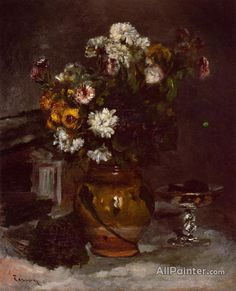 Pierre Auguste Renoir Flowers In A Vase And A Glass Of Champagne oil painting reproductions for sale