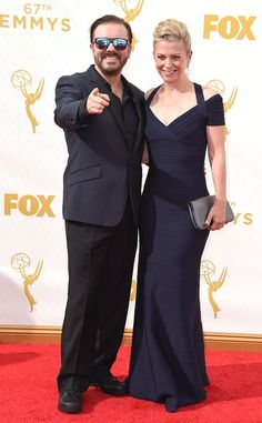Ricky Gervais & Jane Fallon from 2015 Emmys: Red Carpet Couples  The Emmy-nominated funnyman strikes a pose next to his longtime girlfriend.