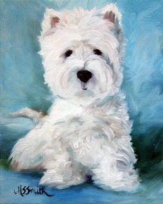 Mary Sparrow Westie West Highland Terrier Dog Art Oil Painting Print Mssmith | eBay
