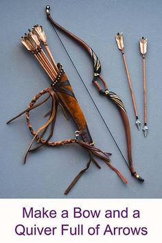 How to: Miniature bow and quiver with arrows....beautiful site with other tutorials.