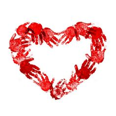 Red Heart of Hand Prints