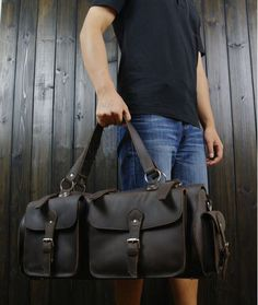 #Duffle Large Full Grain #Leather Travel Bag #Selvaggio