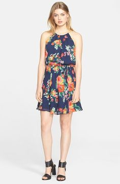 Joie 'Makana' Floral Print Silk Halter Dress available at #Nordstrom